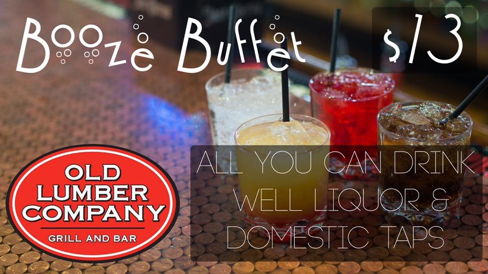 four mixed well drinks on a bar top with the words saying all you can drink well liquor and domestic taps $13
