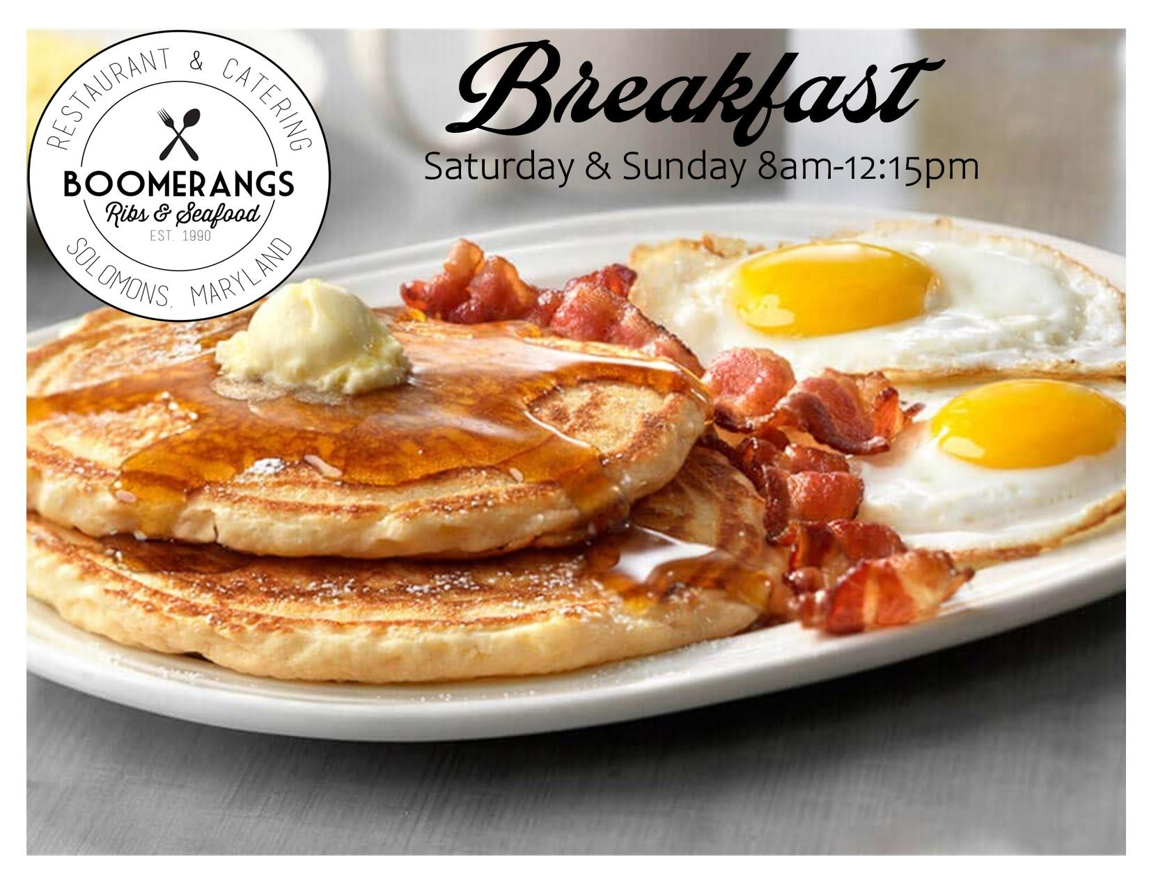 Breakfast Saturday & Sunday 8am-12:15pm, picture of pancakes, bacon and eggs