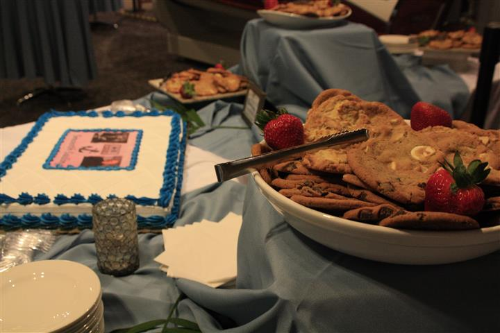 catering dessert station with various cookies on display