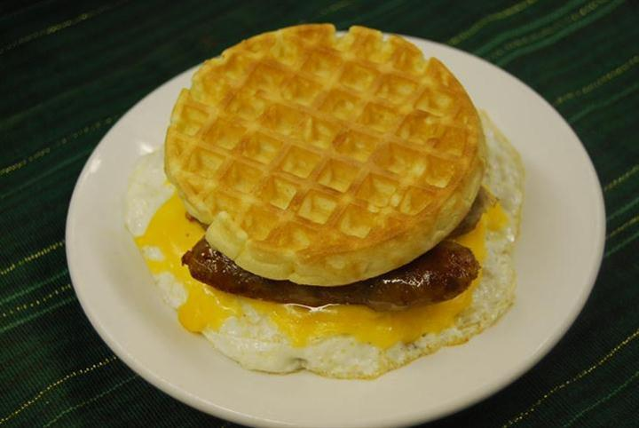 waffle egg sandwich with sausage