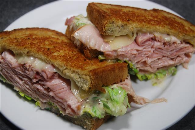 ham sandwich with cheese and lettuce