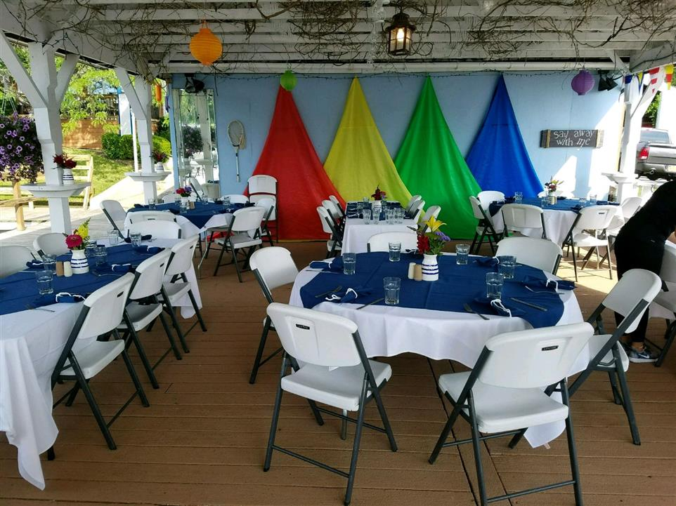Tables set up for a party