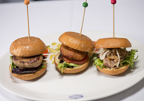 three burger slider entree