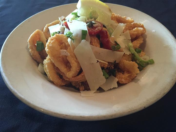 fried calamari salad with lettuce and cheese