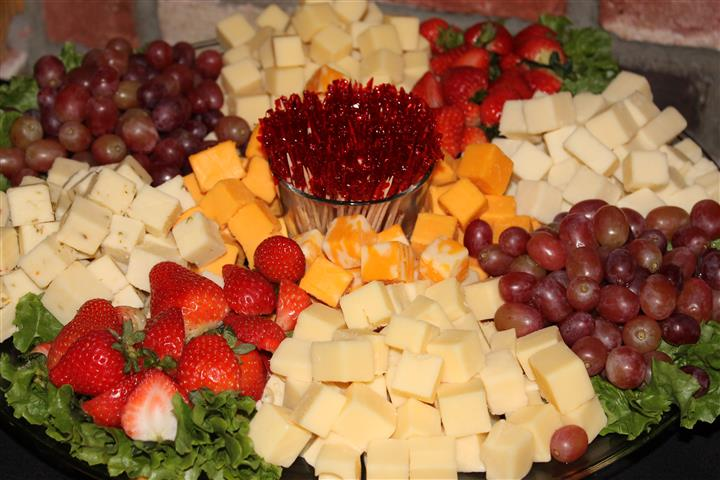 Assortment of cheeses and fruits