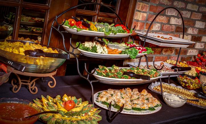 Platters of food on a rack