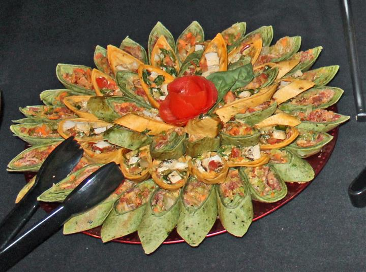 Wraps arranged in a decorative manner