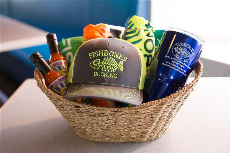 basket filled with fishbones merchandise