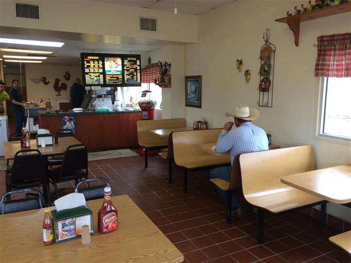 Interior shot of counter with tables