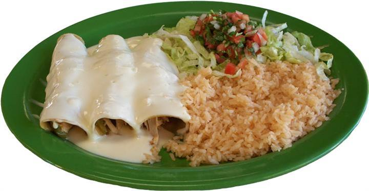 two enchiladas with rice and salad