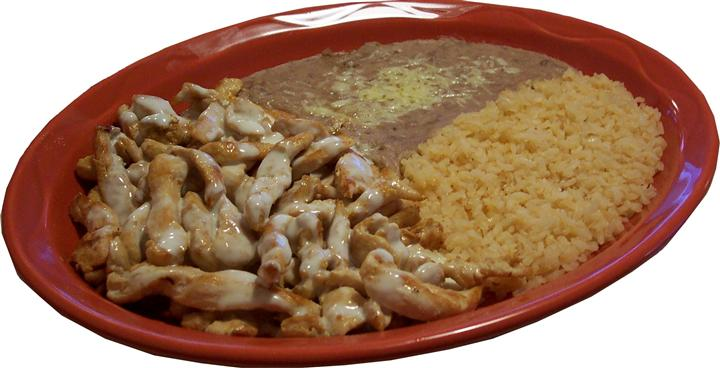 chicken with rice and beans on a plate
