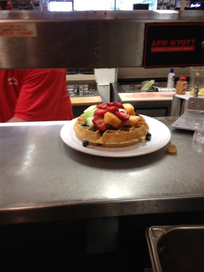 Waffle topped with fruits