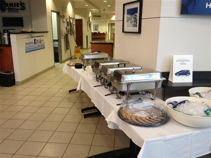 A buffet with several catering-trays
