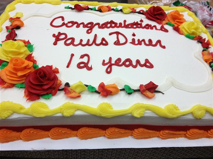 An Anniversary Cake for 12 years Pauls Diner