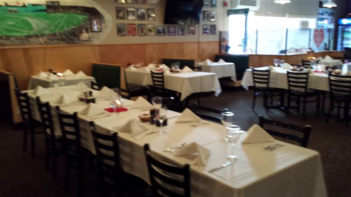 Interior shot of the restaurant's tables with table cloths