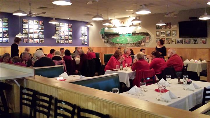 Interior shot of the restaurant with people sitting at the tables