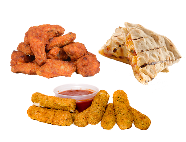 Wings, mozzarella sticks and chicken quesadilla