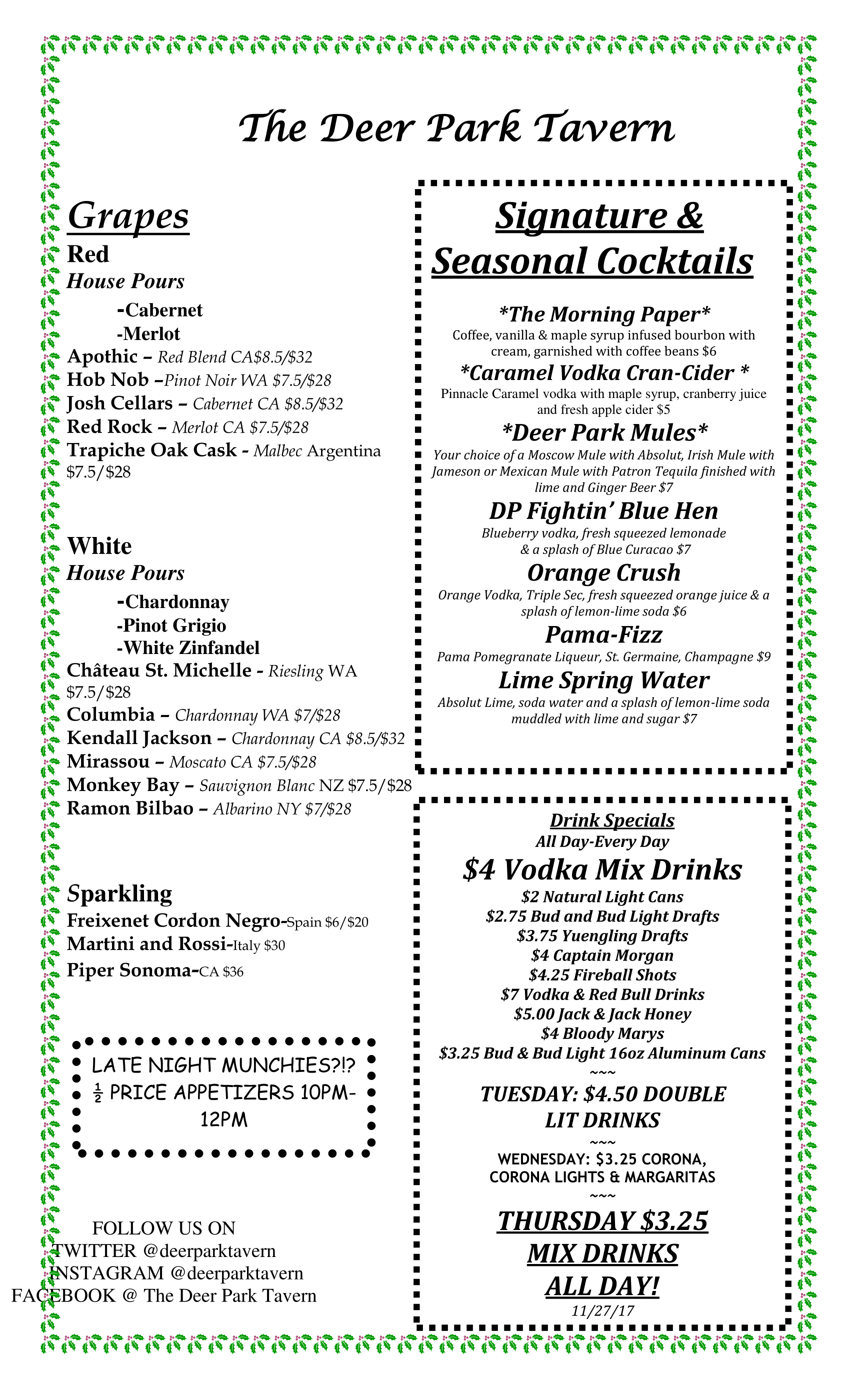 Deer Park Tavern Wine and Drink Menu