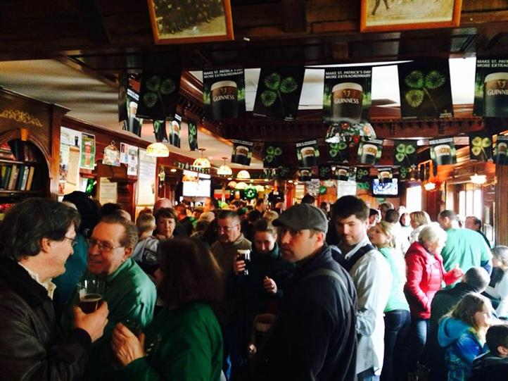 crowded inside area for st. patrick's day
