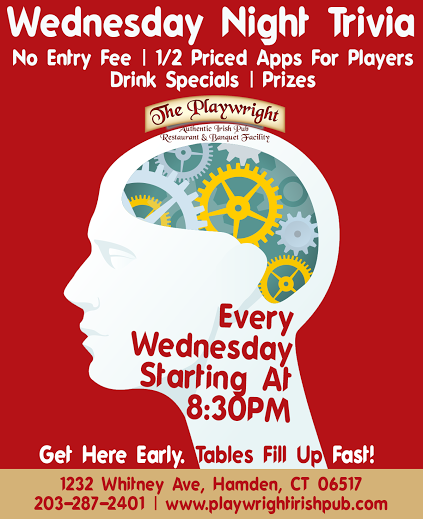 Wednesday Night Trivia. No entry fee, half priced appetizers for players, drinks and prizes. Every Wednesday starting at 8:30pm
