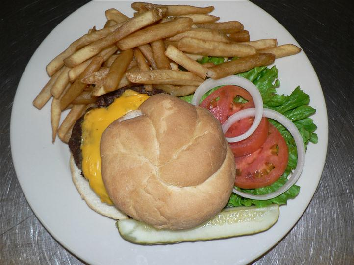 Cheese burger with a side of french fries