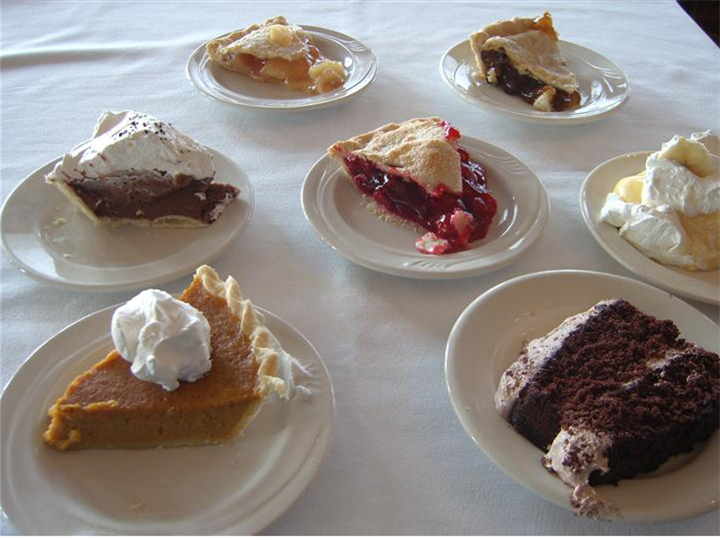 Multiple cakes and pies