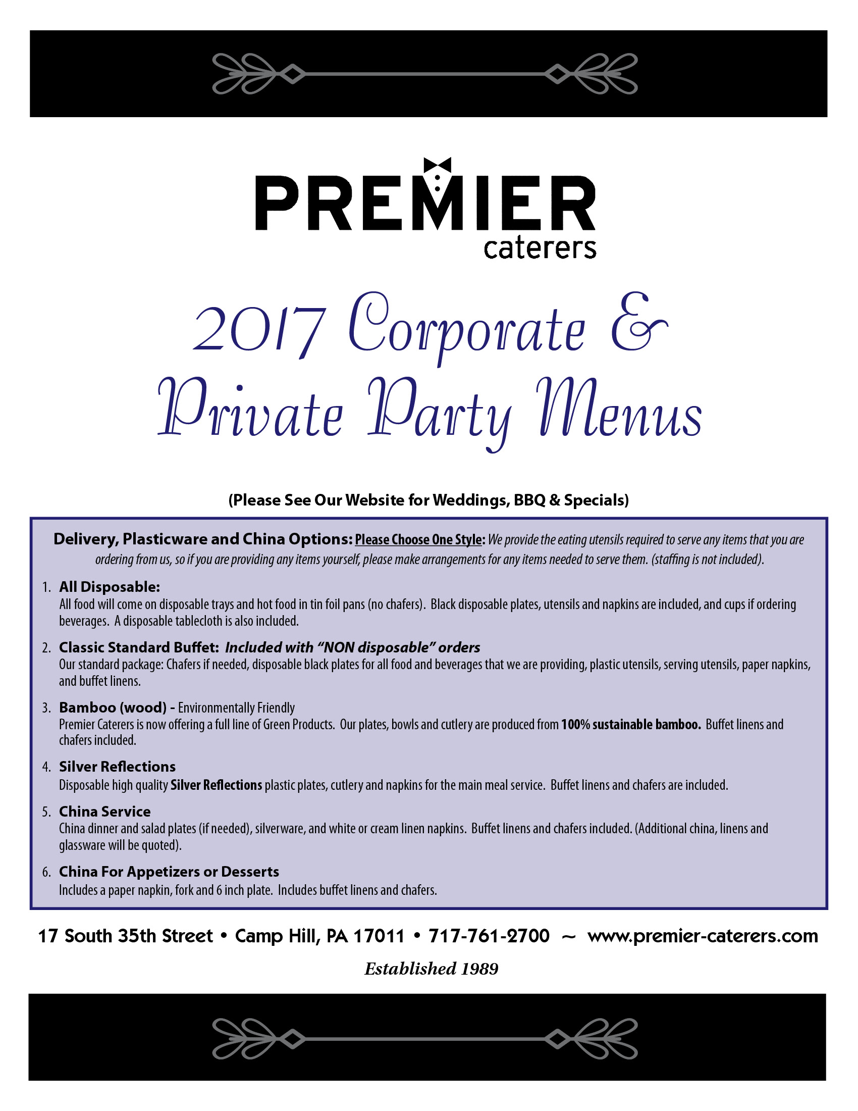 Premier Caterers | Where great food and service meet! | Camp Hill, PA