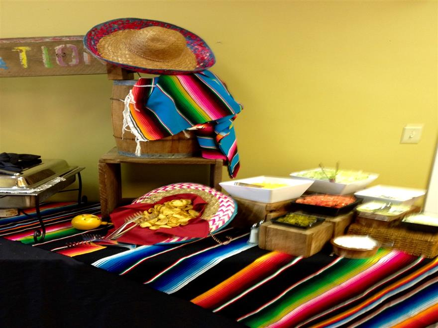 mexican station decorated with sombreros