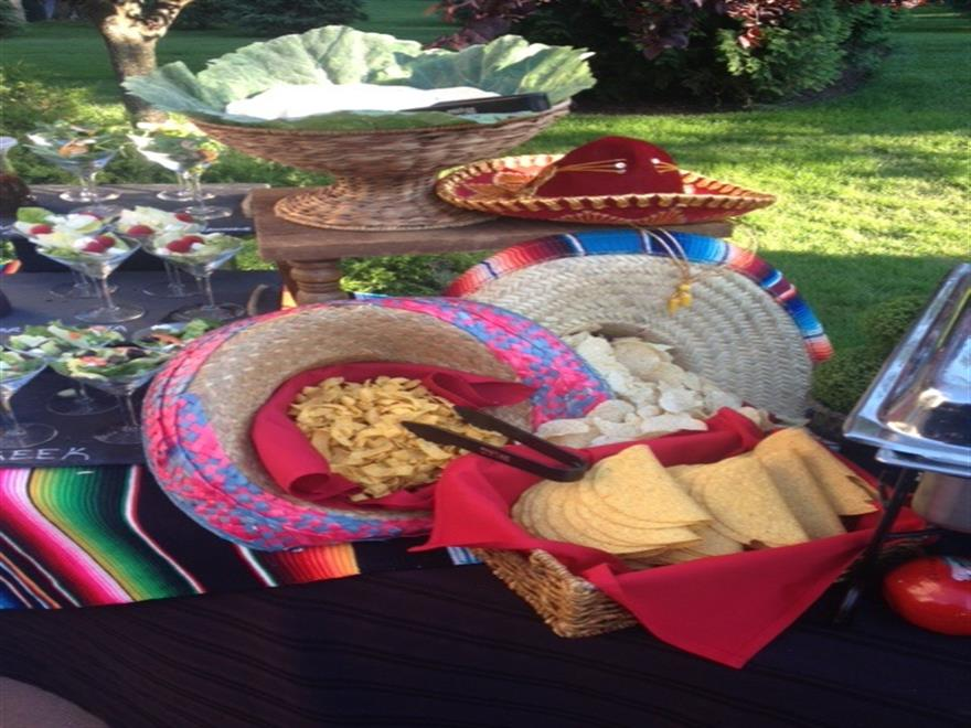 mexican statin, with taco shells and torilla chips inside a sombrero hat