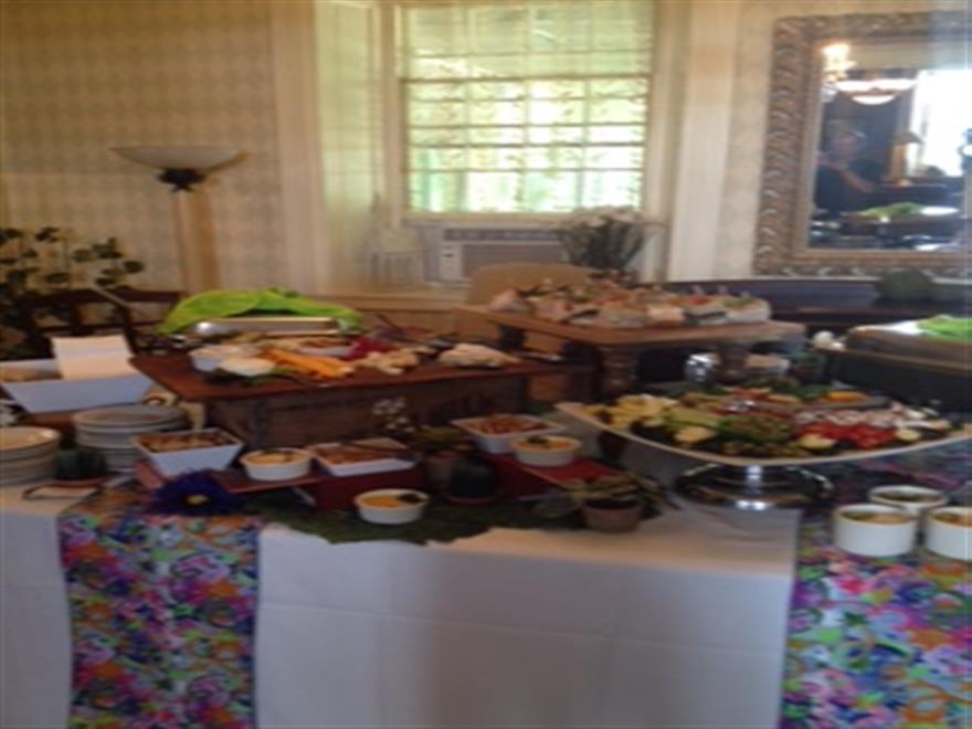 food sation with a variety of items, picture from the side