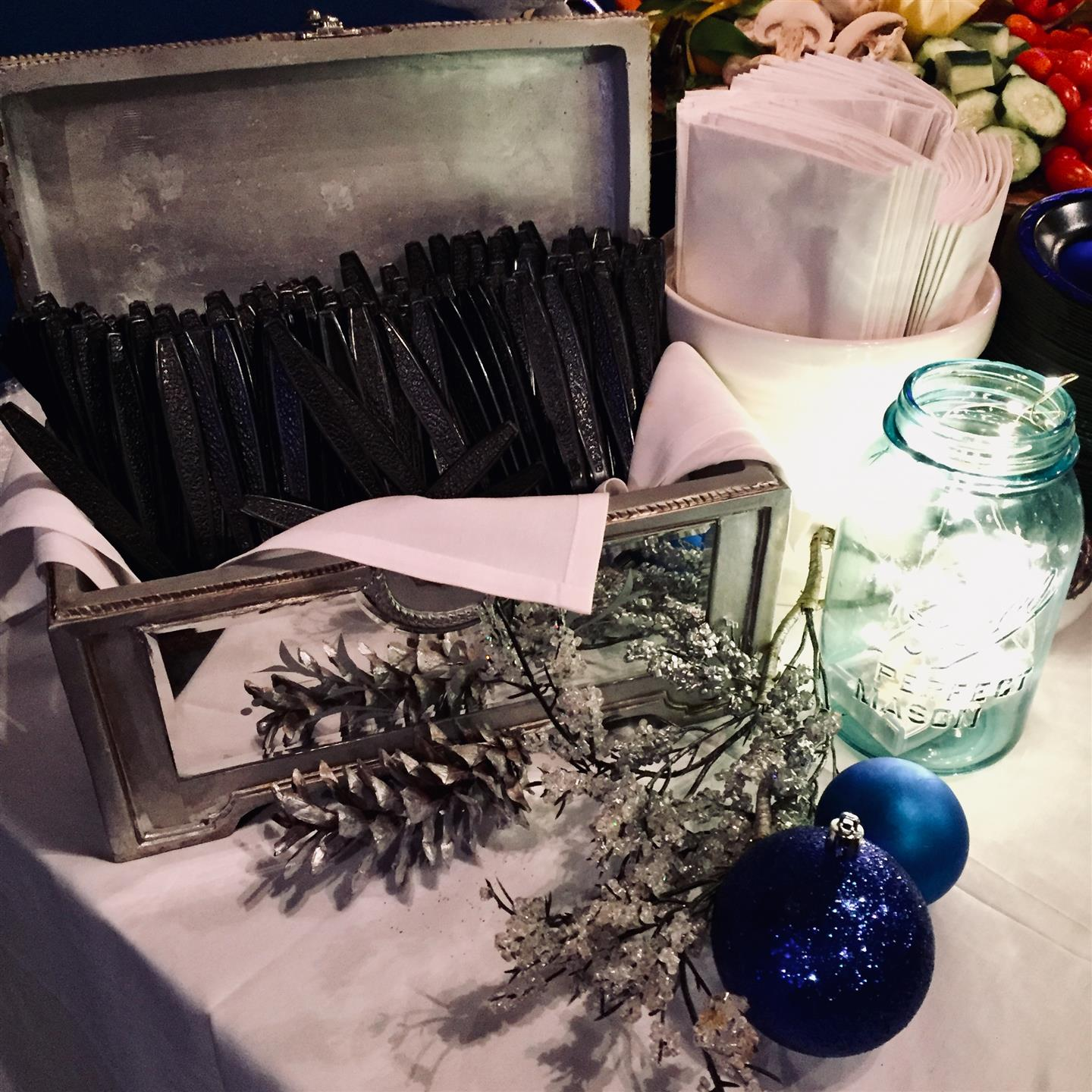 Winter decorations with silverware inside