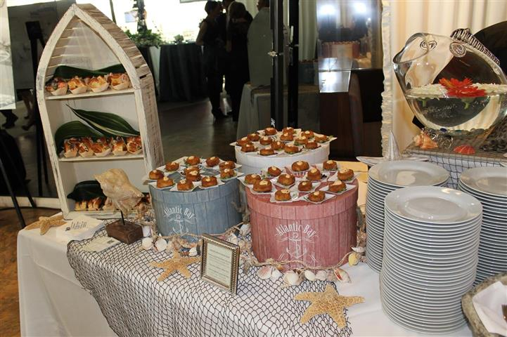 pastries and dishes displayed on table