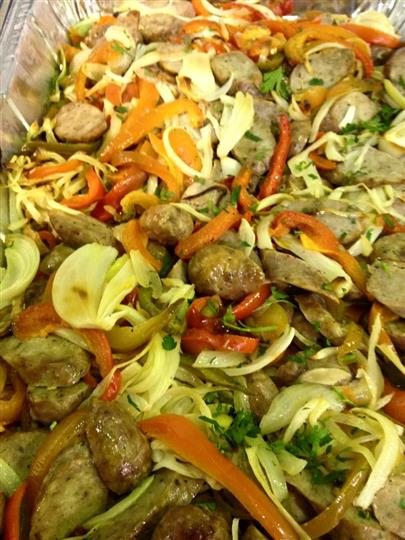 pasta with meatballs, and vegetables