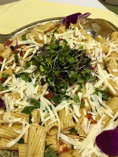 pasta with grated cheese and herbs