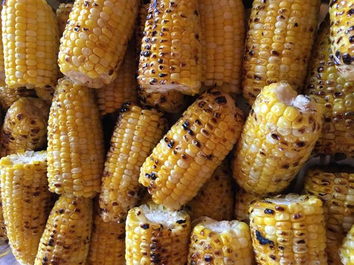 Grilled corn on the cob piled on eachother