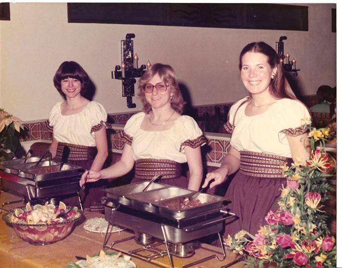 vintage image of three woman waitresses