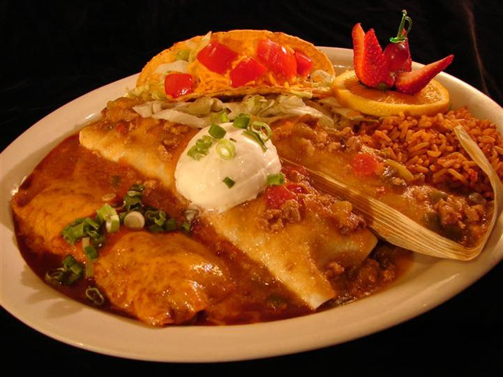 4 Item Combination Plate with tacos and enchiladas