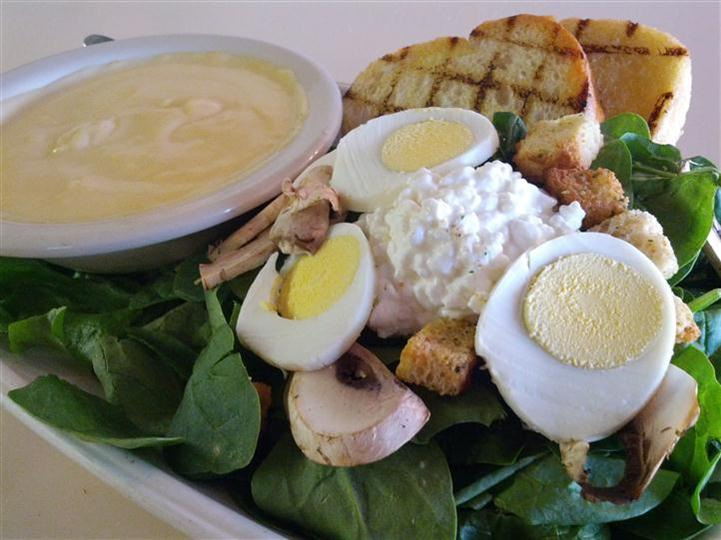 salad with cottage cheese, eggs and mushrooms