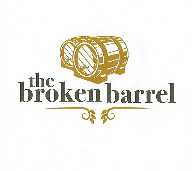 The broken barrel logo with a graphic of two beer barrels.