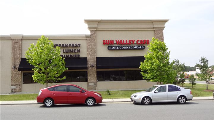 Front Entrance of Sun Valley Cafe with sign