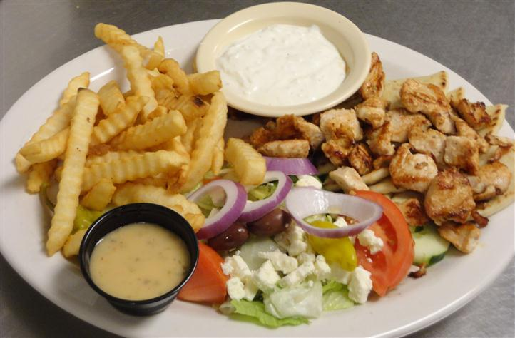 Grilled Chicken and French fries served with salad and dipping sauce