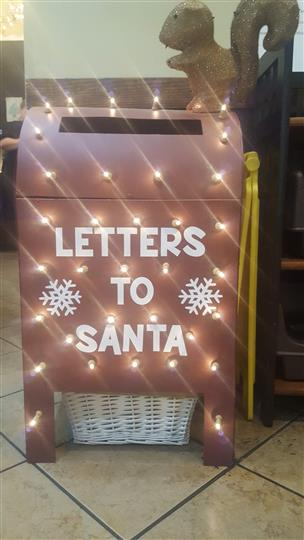 """Letters to Santa"" mailbox decoration"