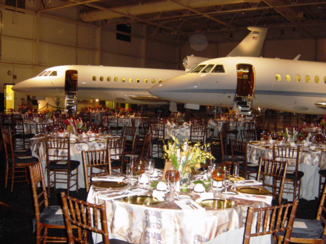 catering table in front of planes