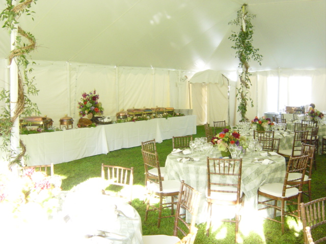 catering table and tables with chairs
