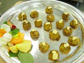 food items on catering tray