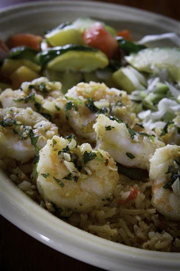 Shrimp over rice