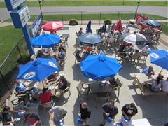 People sitting at the outdoor patio eating