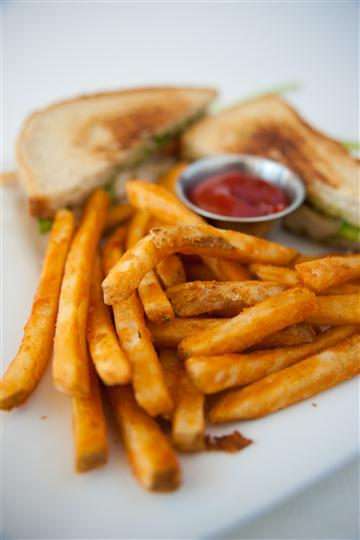 sandwich with french fries and ketchup on the side