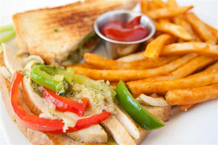 sandwich with fries and ketchup on the side