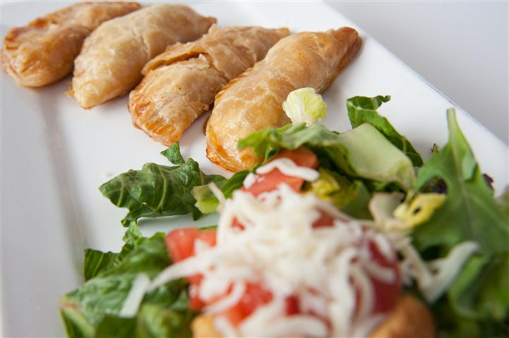 pot stickers with a salad
